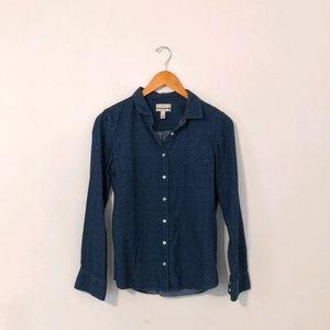 J. Crew Blue Button Up Boy Style Top Size 8